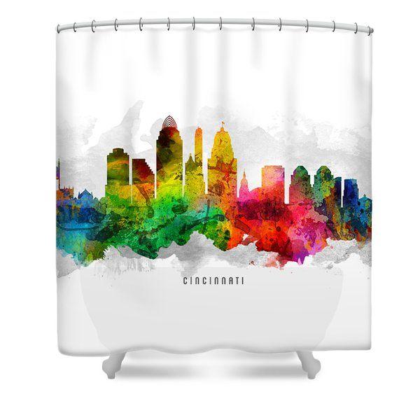 Cincinnati Ohio Cityscape 12 Shower Curtain by Aged Pixel