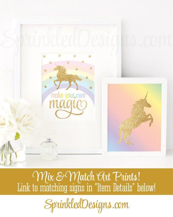 Make Your Own Magic Printable Sign, Rainbow Unicorn Birthday Party Decorations, Unicorn Nursery Wall Art Decor, Little Girls Room Printables - SprinkledDesigns.com