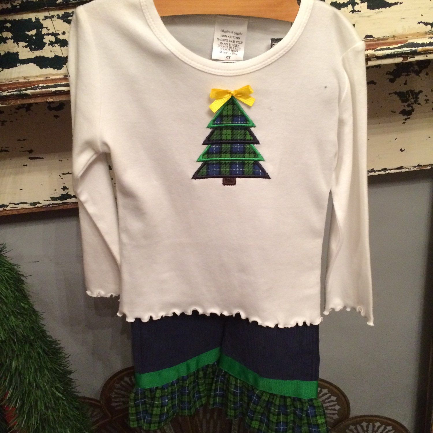 Toddler Girls 2 Toddler pants set.  Monag shirt and corduroy pants with plaid ruffle matching the appliquéd tree design on shirt.  Ready for shipment and Santa pictures.