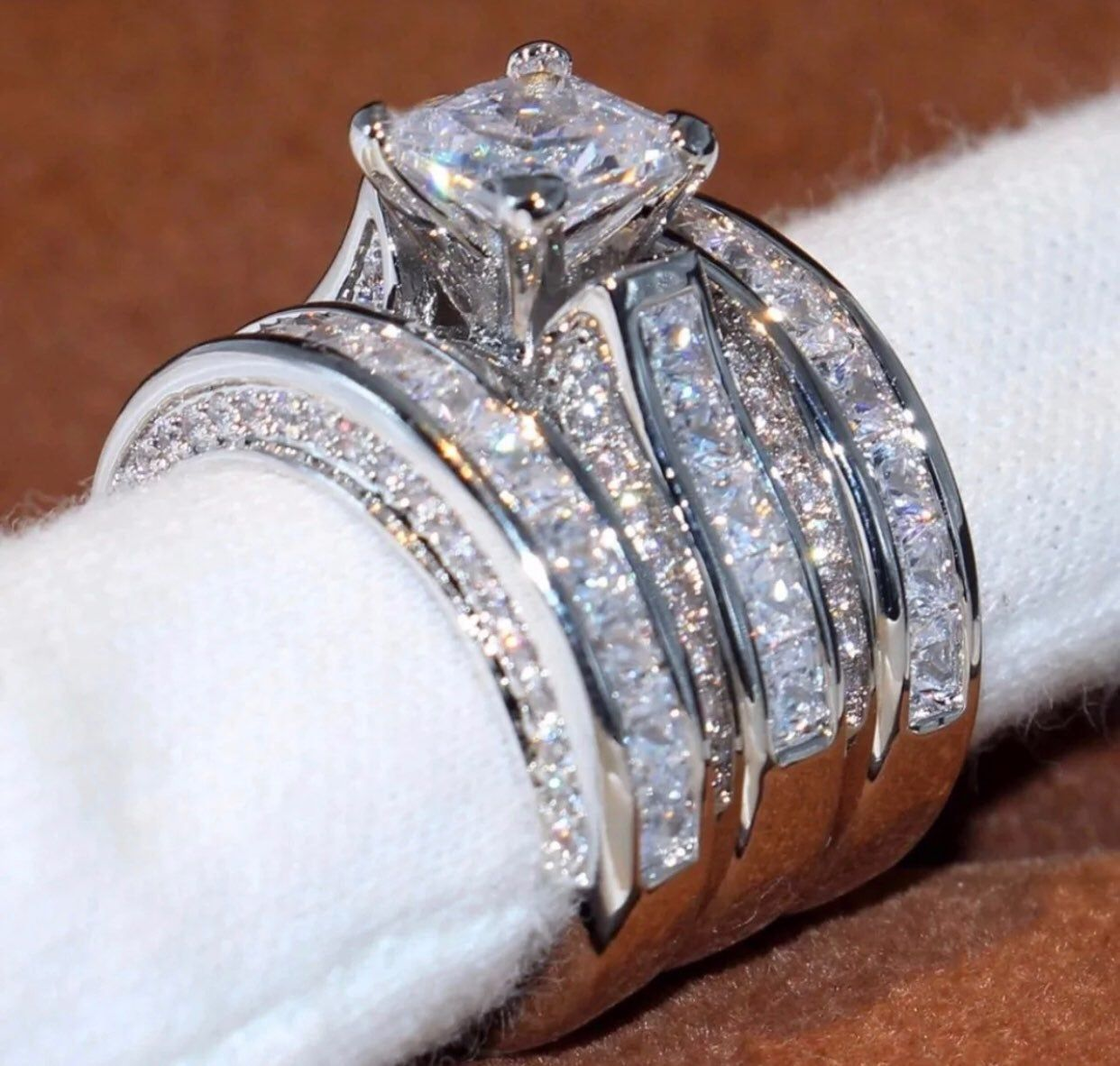Stones High Quality Created Diamond Cubic Zirconias That Sparkle Glitter And Shine Like White Gold Wedding Ring Set Wedding Rings Sets Gold Wedding Ring Bands