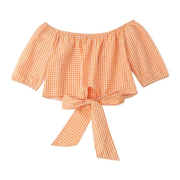 f5a92ef7dd6c6c Off Shoulder Plaid Knot Hem Crop Top (£16) ❤ liked on Polyvore featuring