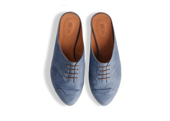 flat blue clogs women leather shoes blue shoes by MYKAshop on Etsy, $209.00