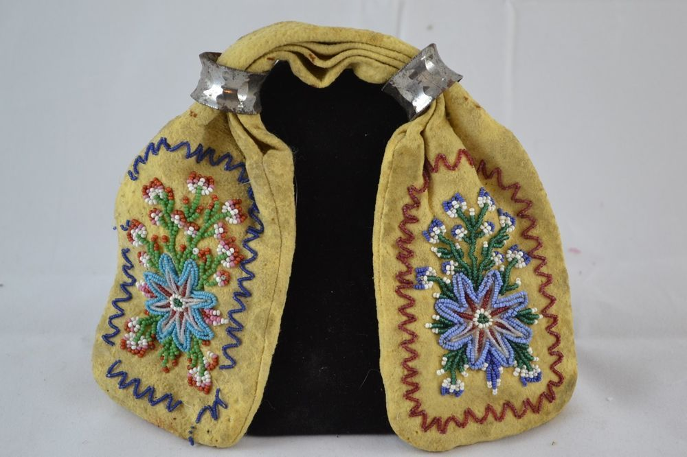 1920's Native American Indian Beaded 4 sides Suede Leather Double Pouch Purse