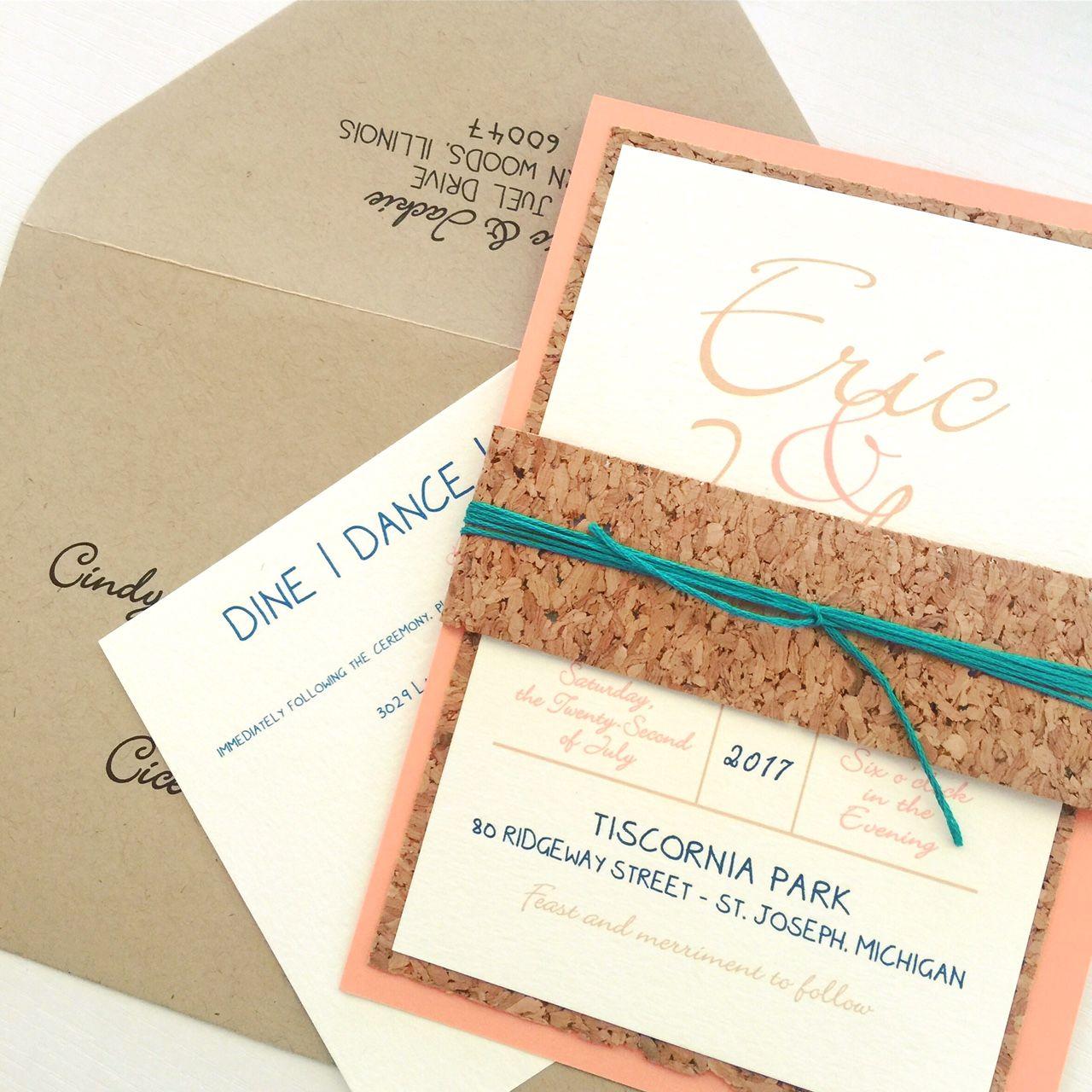 Cork Wedding Invitations: Coral Wedding Invitation
