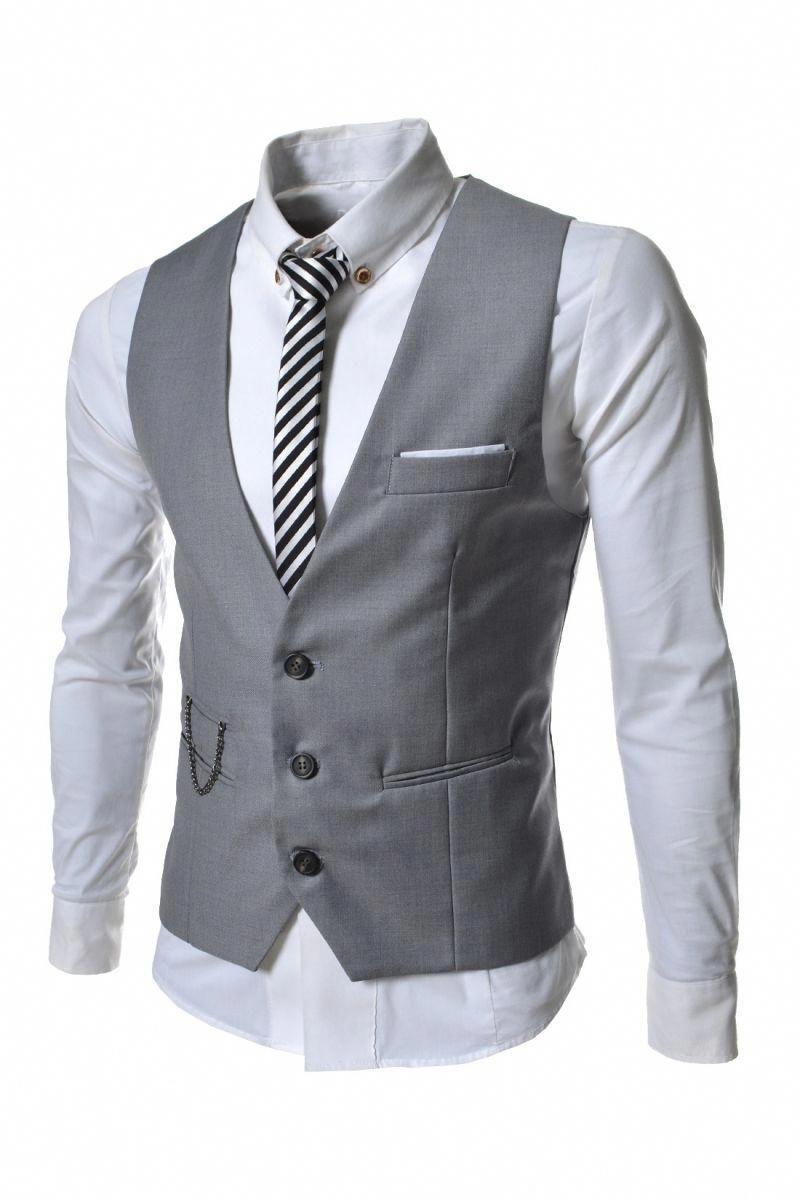 Gray Chain 3 Buttons Dressy Vests For Men Mensoutfits Dressymensfashion Mens Dress Vests Waistcoat Fashion Business Suit Vest [ 1200 x 800 Pixel ]