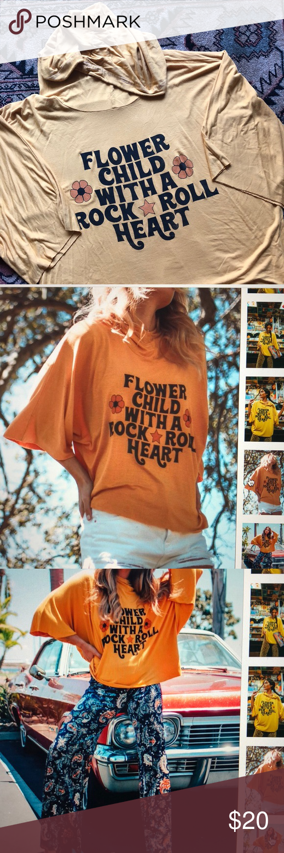 de601339 Flower child with a rock and roll heart Short sleeve with a hood. Wing  sleeves, slouchy fit. Yellow wash, brighter then mustard but not as dark  mustard as a ...