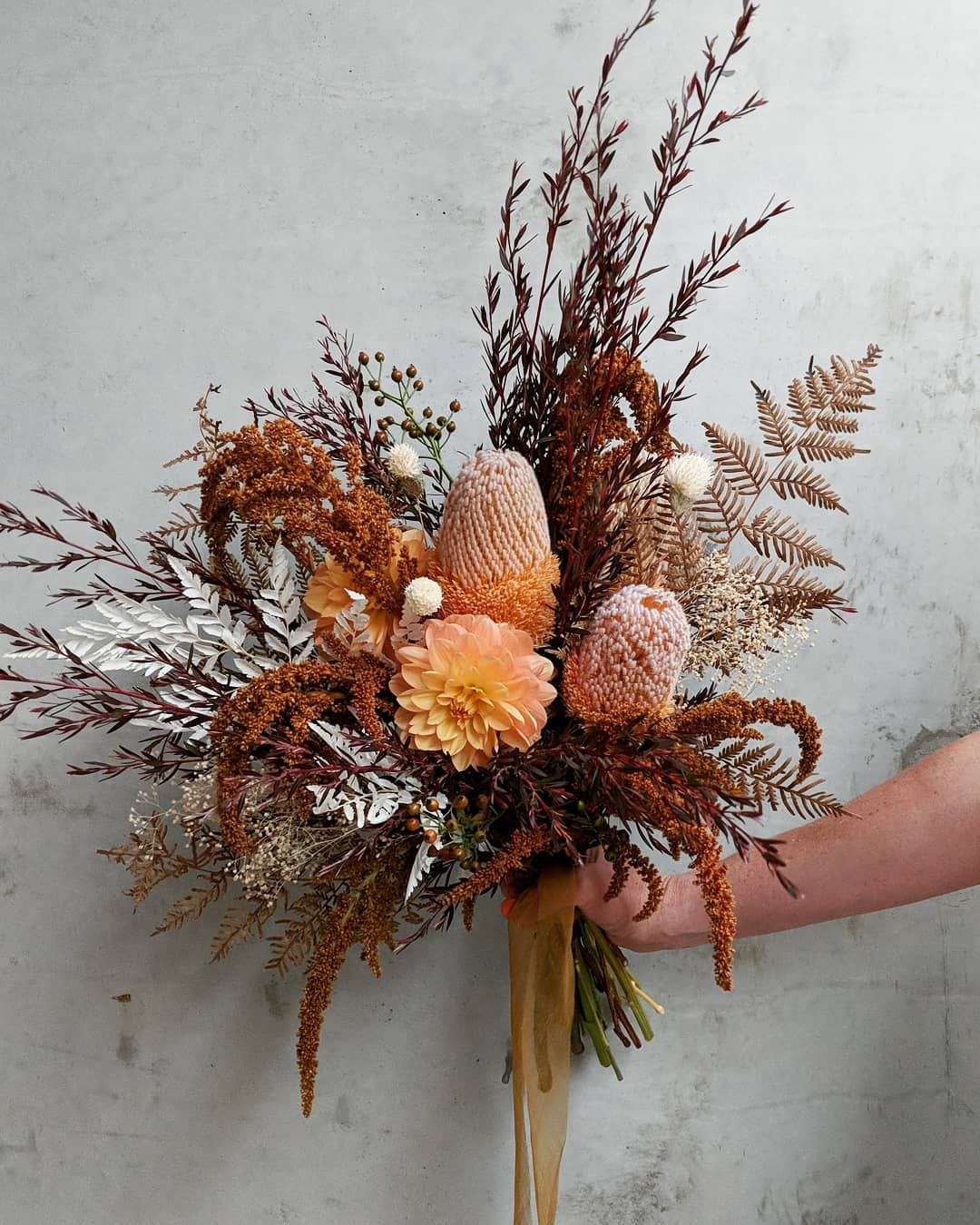 "Photo of 🌾 Free-form floral design's Instagram photo: ""For Lorren, with a bed of amber amaranthus. Her ceremony was taking place against the natural bracken undergrowth of the Great Otway…"""