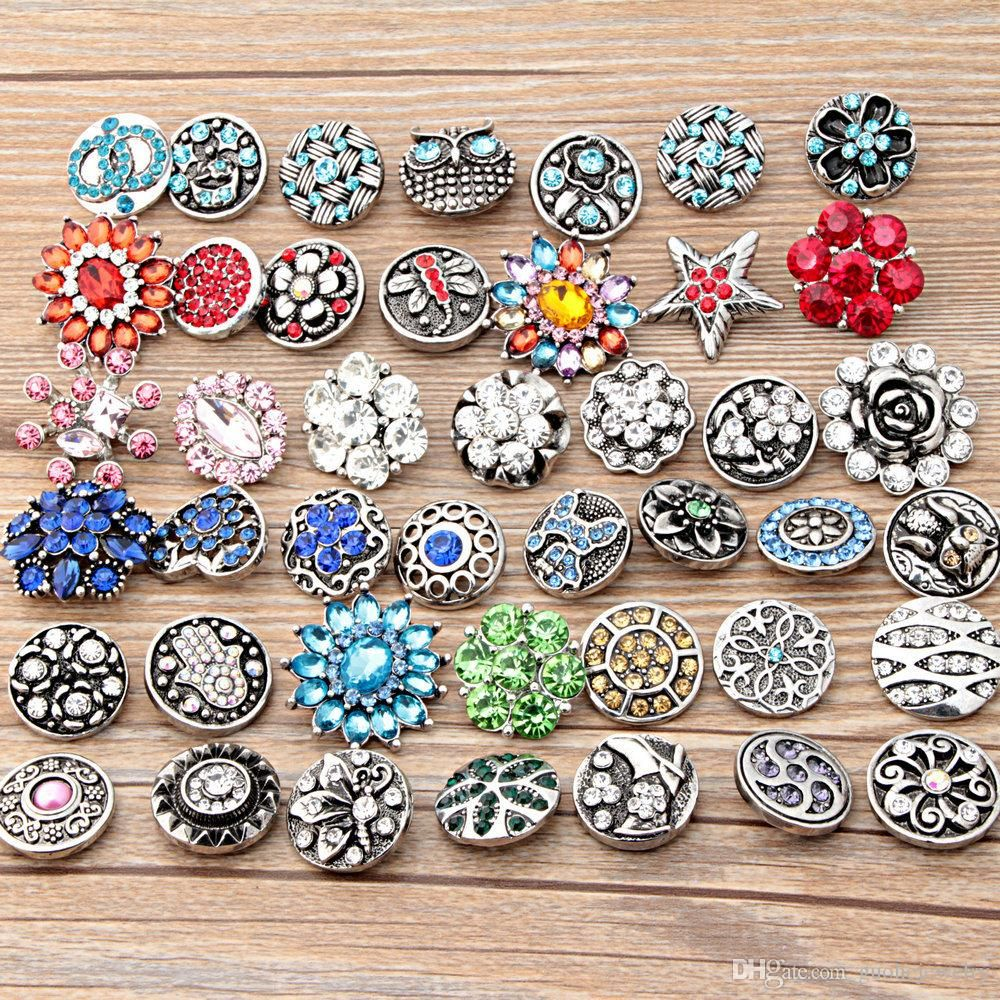 wholesale 50pcs/lot diy jewelry bead Mixed styles 18mm Metal Snap ...