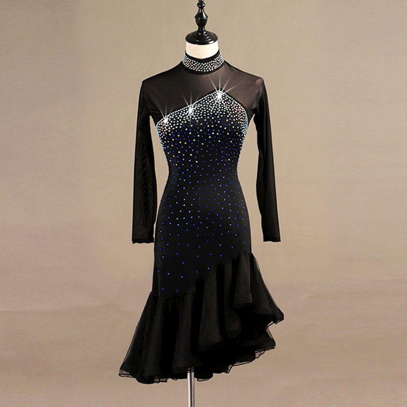 Latin Dance Dress Salsa Tango Cha cha Ballroom Rhinestone Competition Dress 372