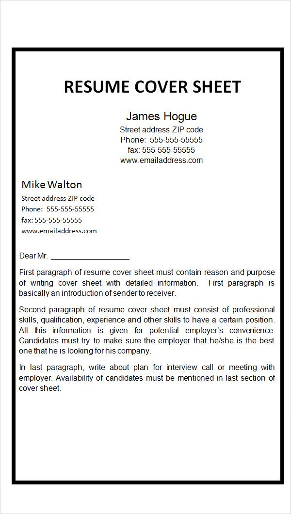 Resume Cover Sheet Example Page Fax Template Click