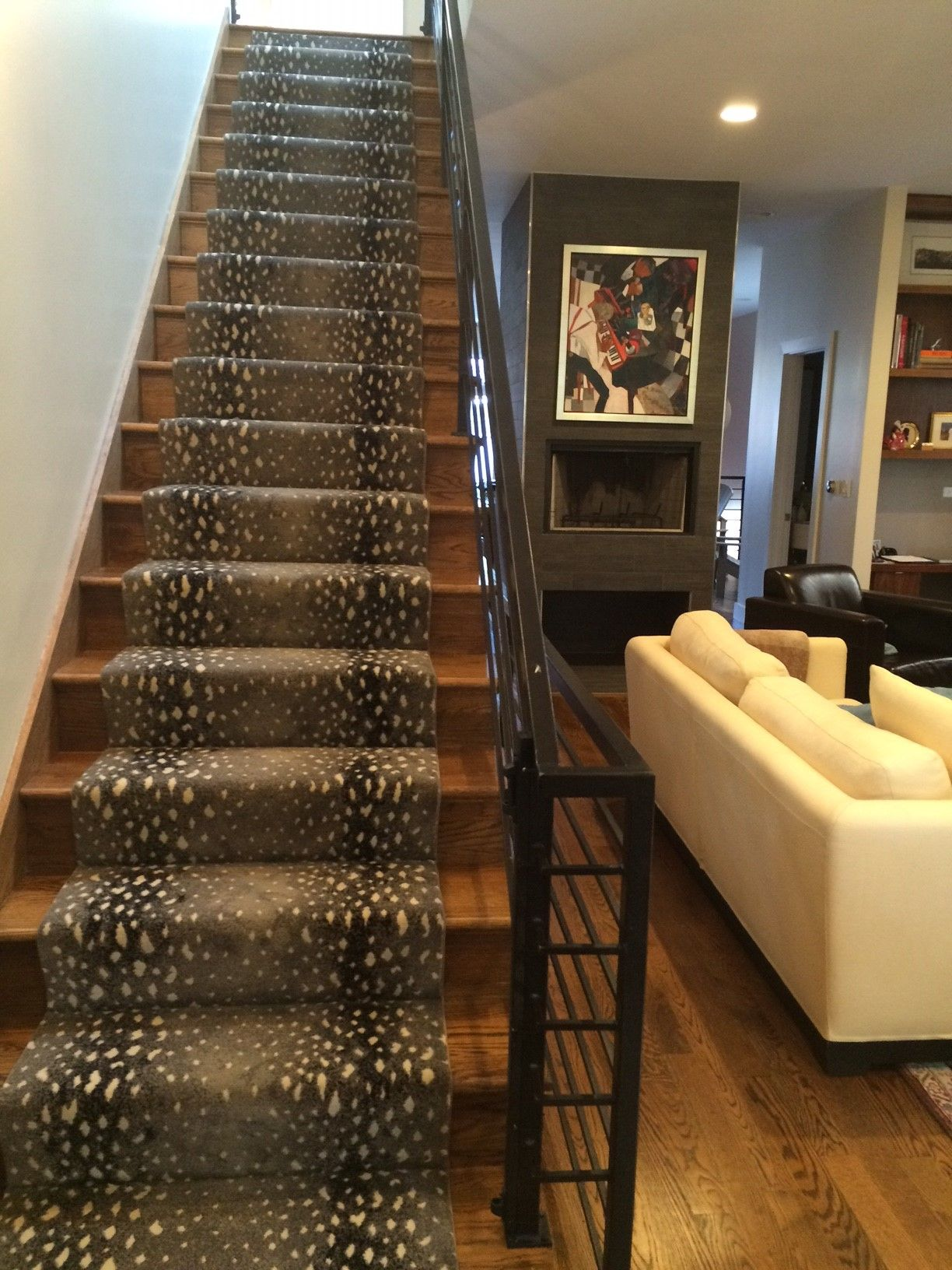Animal Print Stair Runner And Modern Staircase Prestige S