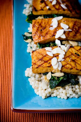 Marmalade Tofu with Kale and Lemon Pearl Couscous #vegan #yummy #tofu #recipe