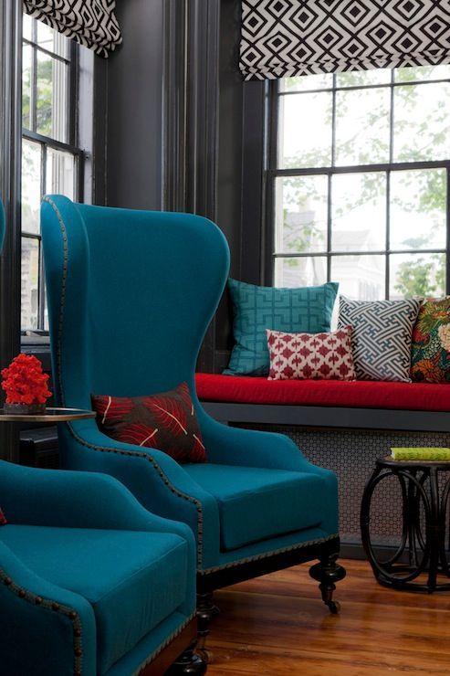 Rachel Reider Interiors  Living Rooms  Retro Living Rooms Glamorous Gray And Red Living Room Interior Design Design Inspiration
