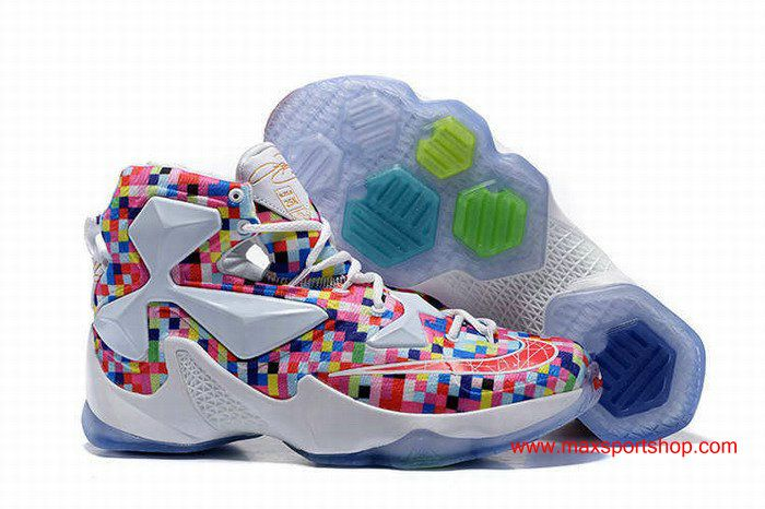 53ae62867ad 2016 Nike LeBron XIII White Rainbow Mosaics Basketball Shoes