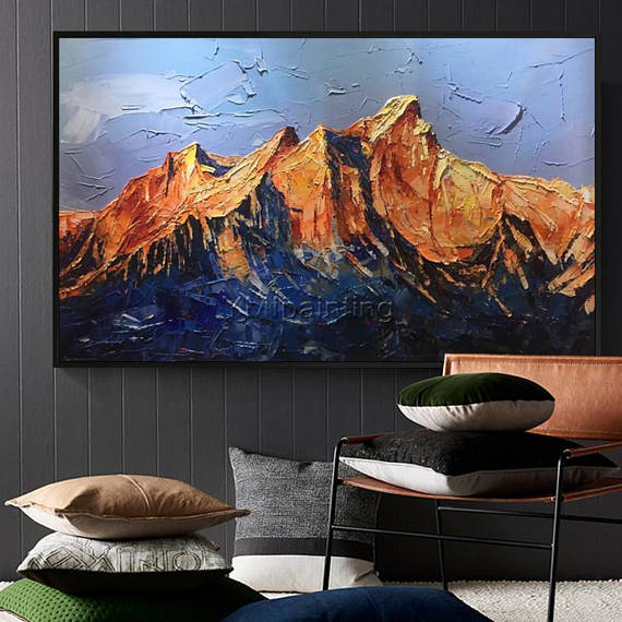 Snow Mountains Peaks Abstract Oil Painting On Canvas Heavy Texture