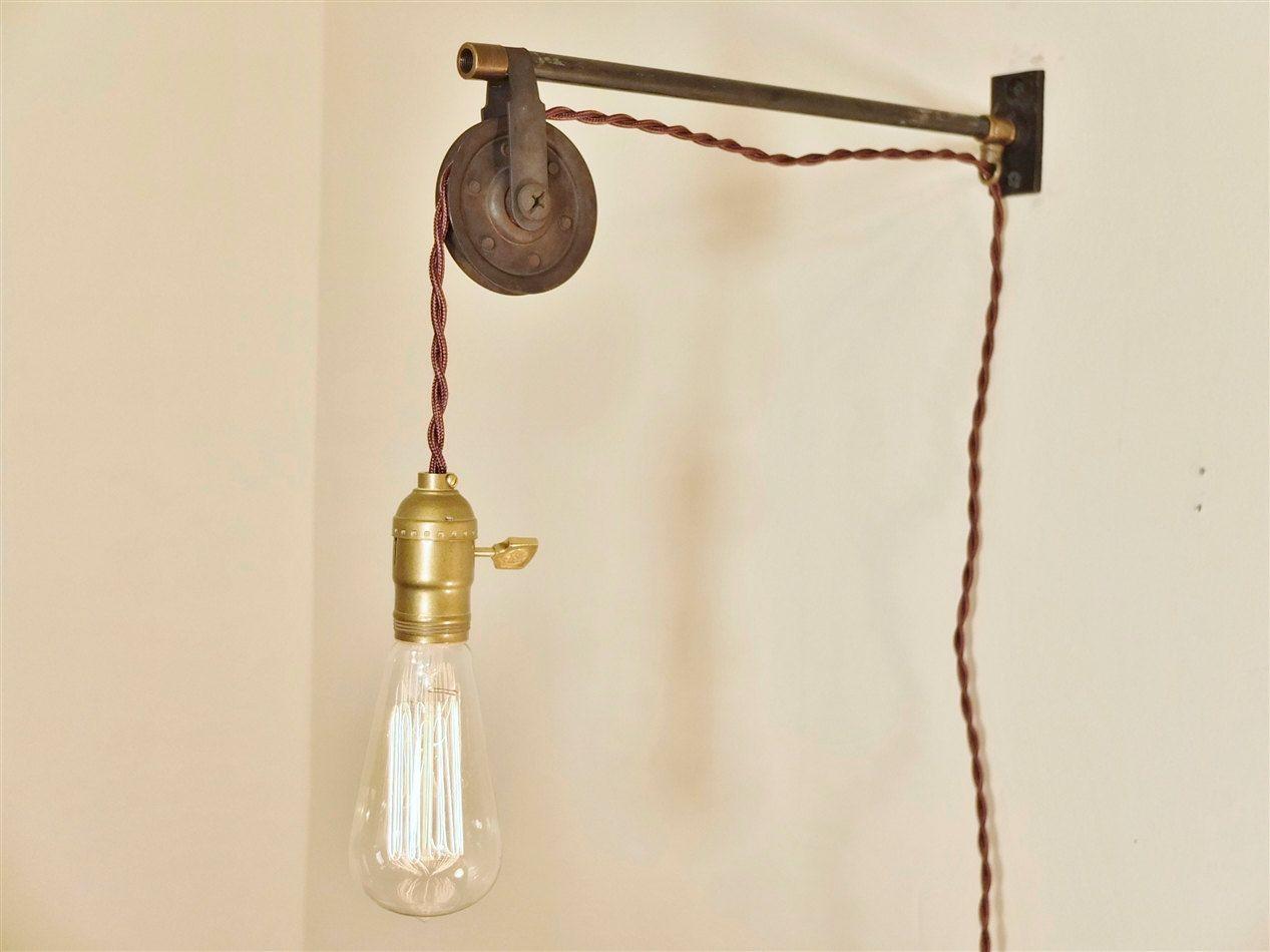 Vintage Industrial Pulley Lamp