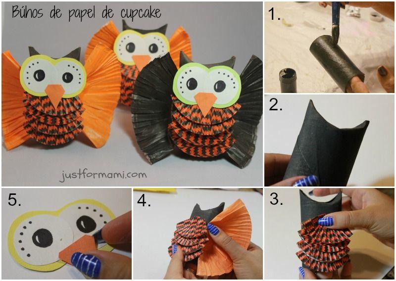 Decoraci n con b hos hechos con papel de cupcake y tubo de - Decoracion con buhos ...