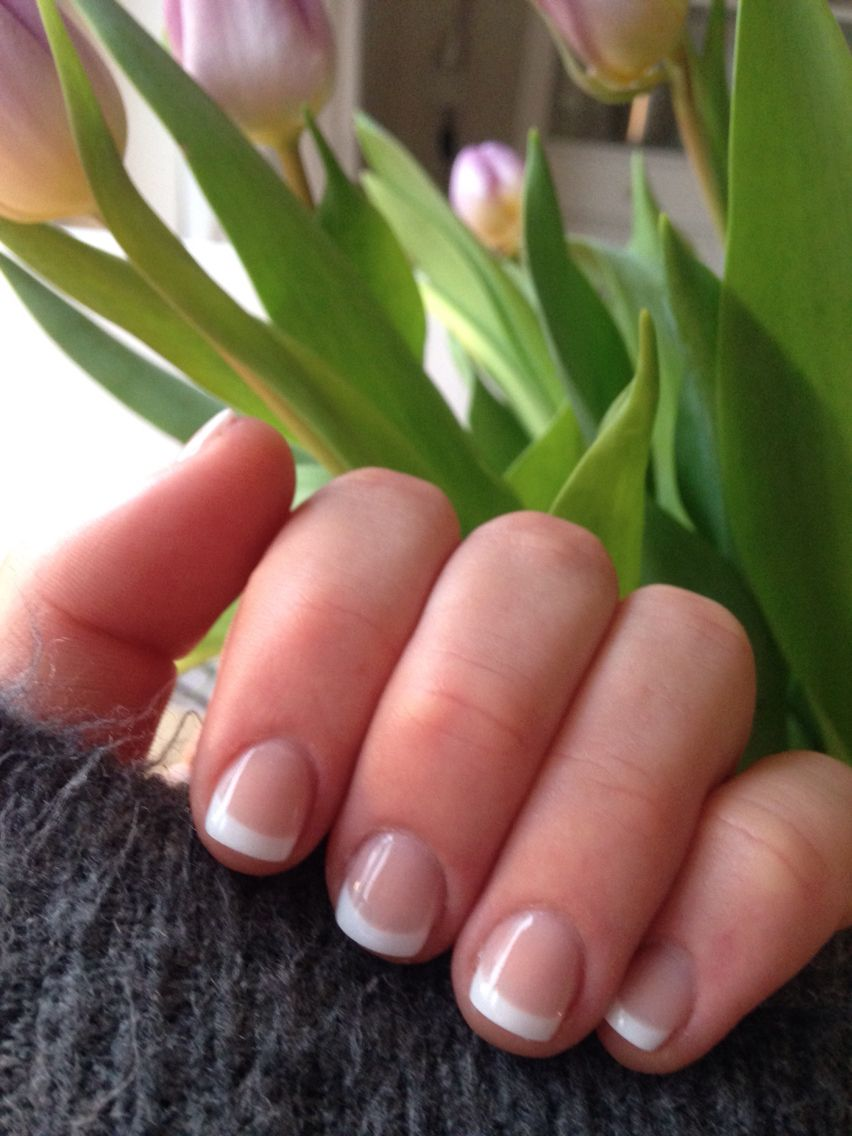 Shellac French Manicure... It\'s nice to see a pic with short nail ...