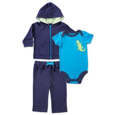 a8ede16cb602dd Babyvision Yoga Sprout Size 0-3M 3-Piece Lizard Bodysuit, Hoodie, And Pant  Set In Blue
