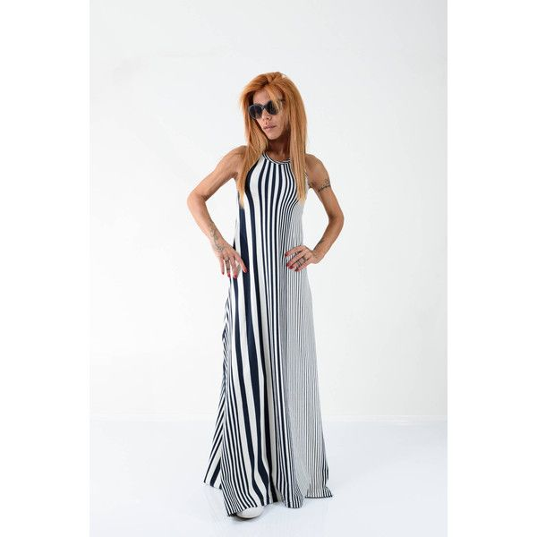 Striped Loose Dress Extravagant Dress Maxi Loose Dress Sleeveless... (175  BGN) via Polyvore featuring black b9e240a05a3