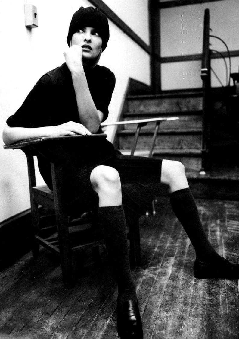 """Linda Evangelista in """"Campus Beat"""", 1994."""
