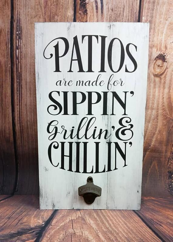 Patio Sign, Grilling & Chilling, Outdoor Wood Sign, Bottle Opener Sign, Patio Decor, Porch Sign, Patio Wall Decor, Pallet Wood Sign