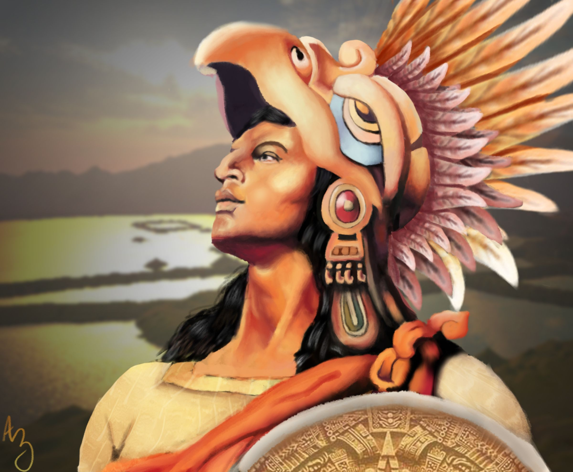 Aztec Eagle Warrior Paintings
