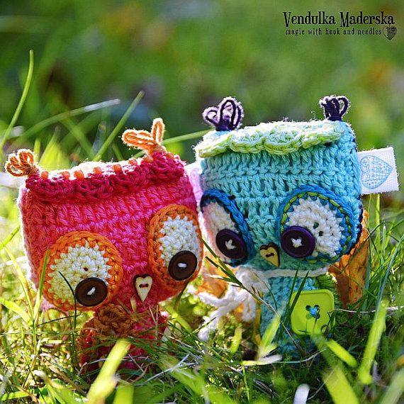 Crochet owl ornament / pendant / hanger pattern   Tejido, Búhos de ...