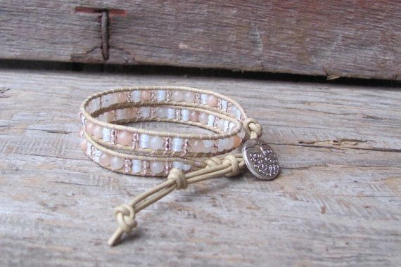 Chan Luu Inspired 2x Leather Beaded Bracelet / Boho Double Wrap Bracelet