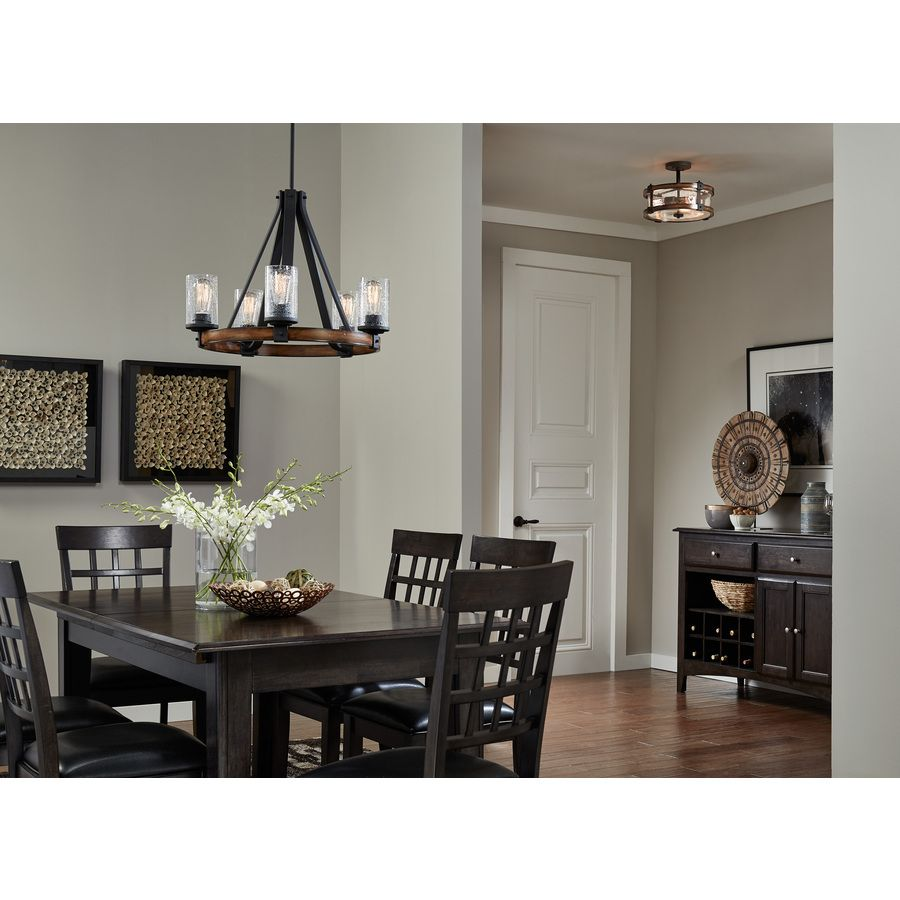 Shop kichler lighting barrington 5 light distressed black and wood chandelier at new - Kichler dining room lighting ideas ...
