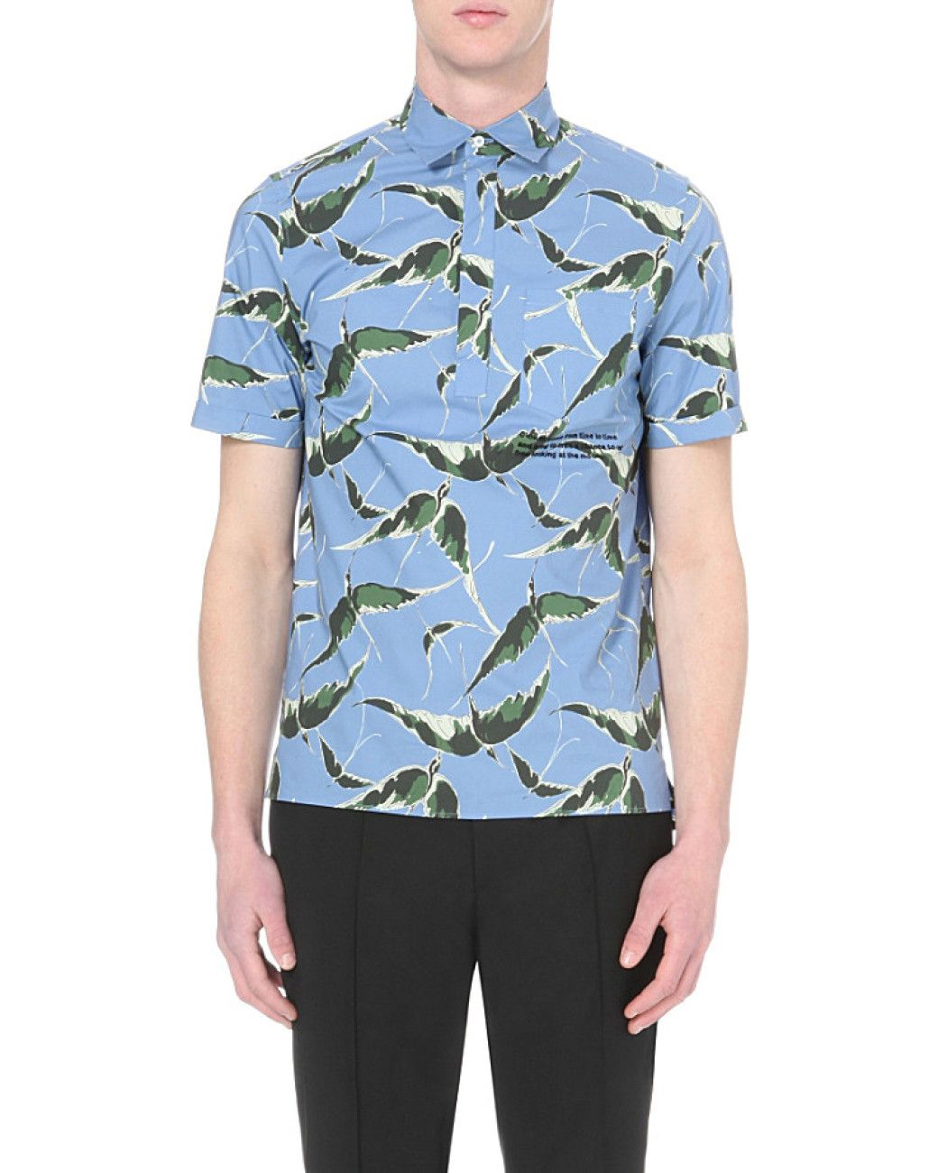 f0f97caa36c Men's Black Blue Albatross Print Short-sleeved Shirt | Bird Print ...