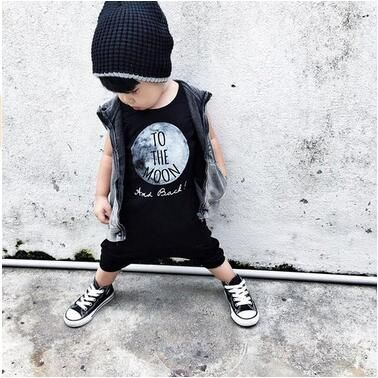 Summer 2016 baby boy clothes cotton sleeveless To The Moon printed baby rompers baby girl clothing newborn infant jumpsuits