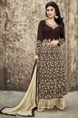 Seal Brown and Cream Yellow Semi Georgette and Soft Net Embroidered #Party #Lawn #Kameez