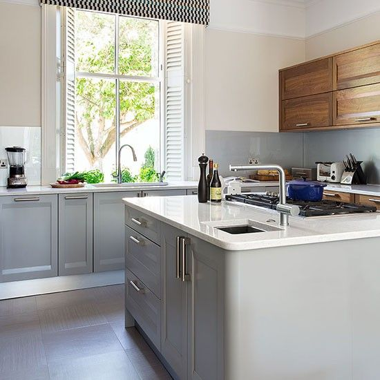 Pale Grey Kitchen With Walnut Units Kitchen Decorating Beautiful - Pale grey kitchen units