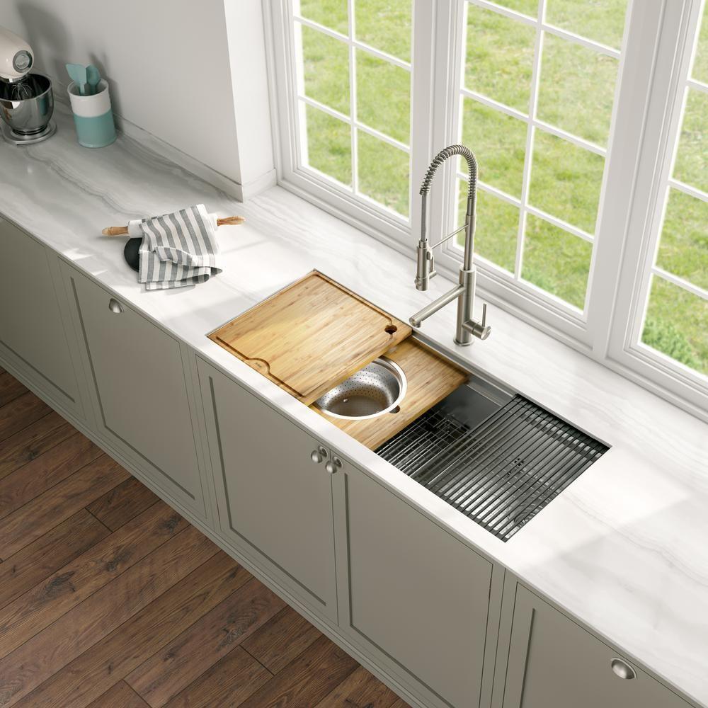 kraus kore 2 tier workstation 45 in 16 gauge undermount single bowl stainless steel kitchen on kitchen sink id=67409