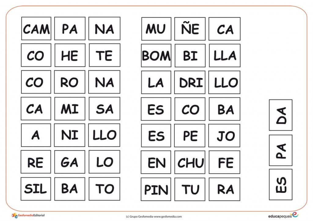 Sílabas Locas Juego Para Ampliar El Vocabulario De Los Niños Y Niñas Palabras Silabas Silabas Silabas Para Imprimir