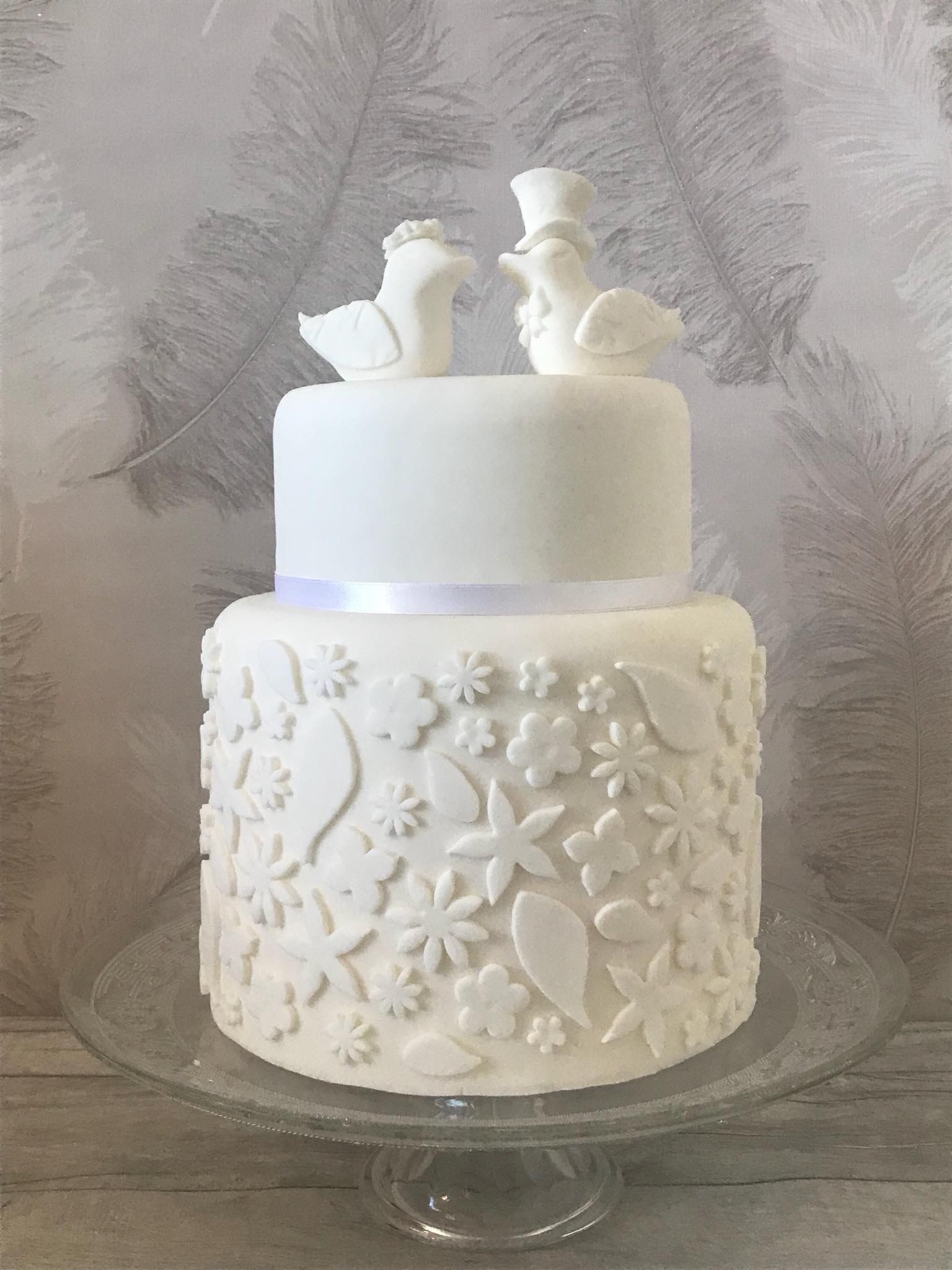 All white wedding cake with love bird toppers xx | Decorated Cakes ...