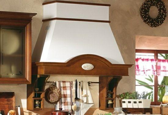 dunstabzugshaube holz küche hell massivholz braun weiß Küche