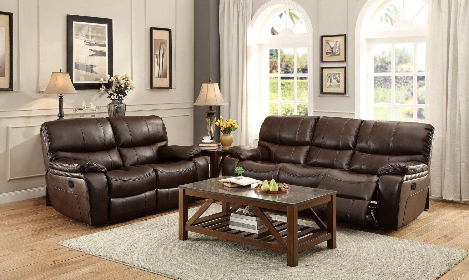 Pecos 2pc Dark Brown Leather Match Double Reclining Sofa Loveseat Set Leather Sofa Living Room Brown Living Room Decor Living Room Sets Furniture