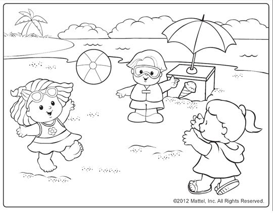 beach coloring pages preschool Coloring4free - Coloring4Free.com | 422x540
