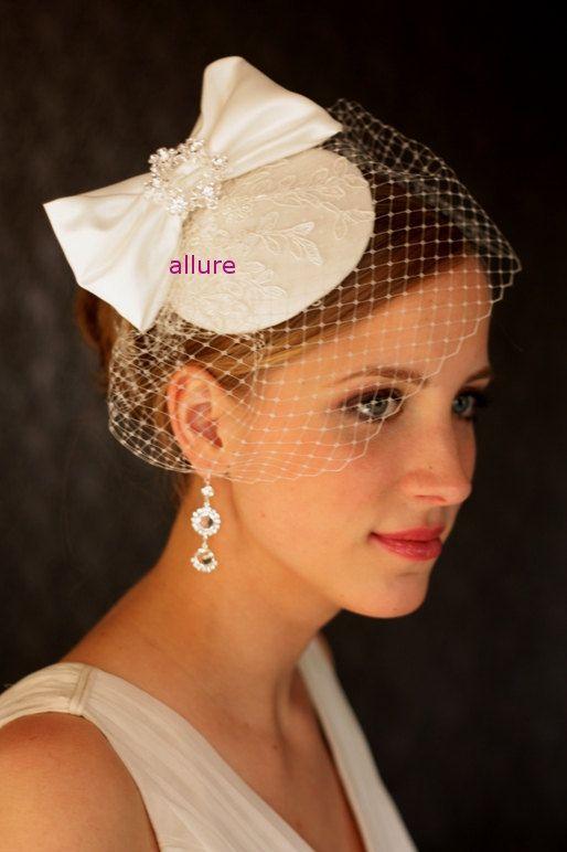 Vintage Inspired NAVY BIRDCAGE VEIL Velvet Bow Headpiece Fascinator Wedding NEW