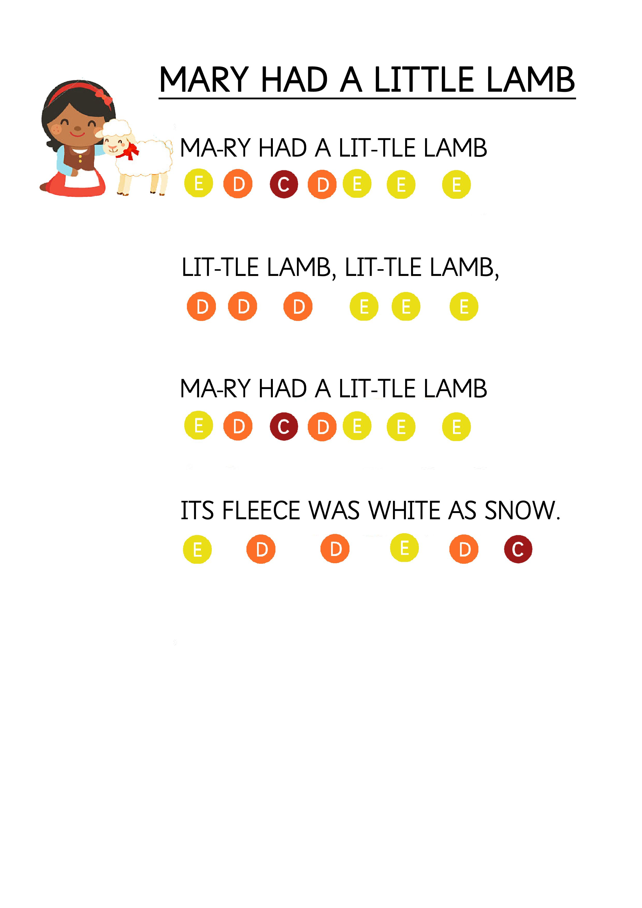 Mary Had A Little Lamb Easy Piano Music Sheet For Toddlers How