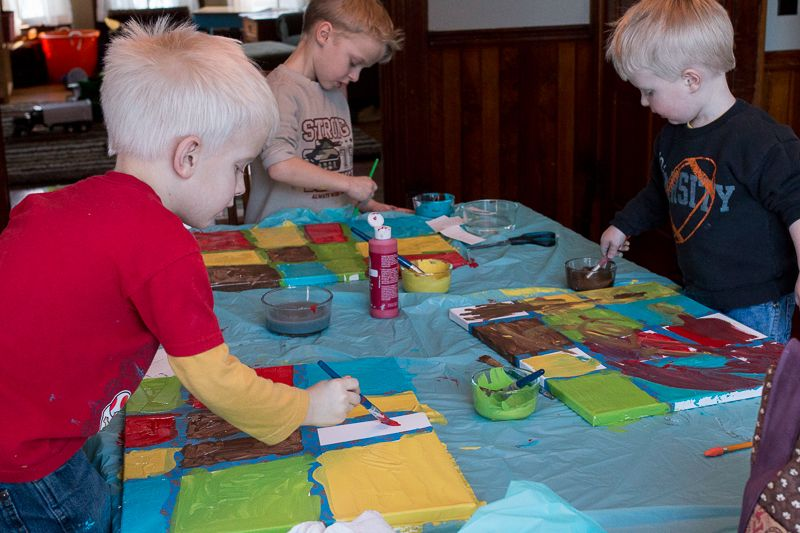Making canvas art with kids - paint by number