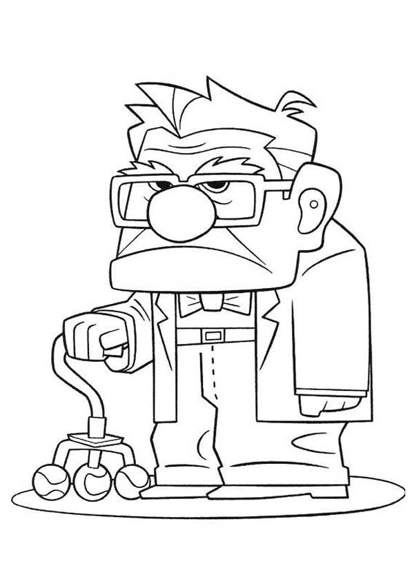 Carl Fredricksen Annoyed Face In Disney Up Coloring Page Netart