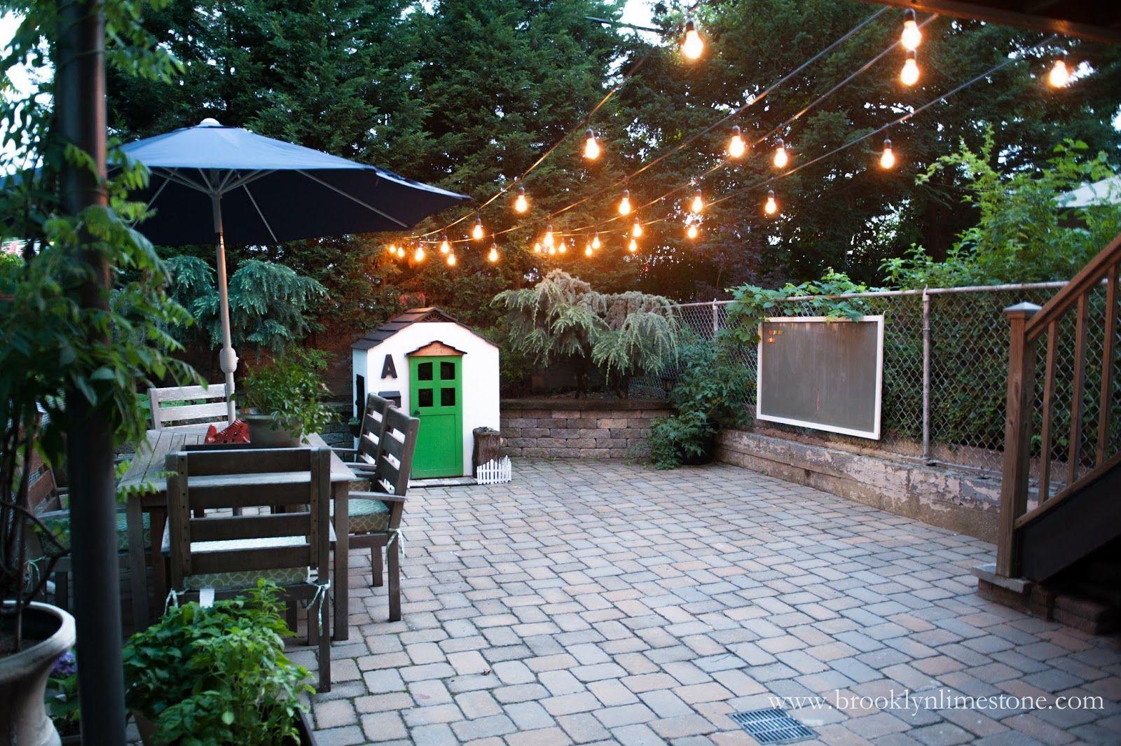 outdoor terrace lighting. Brooklyn Limestone: Backyard · Outdoor Patio String LightsOutdoor Terrace Lighting I