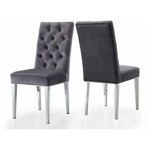 Grey Velvet Tufted Dining Chair Silver Legs Set Of 2 Velvet Dining Chairs Dining Chair Upholstery Upholstered Dining Chairs