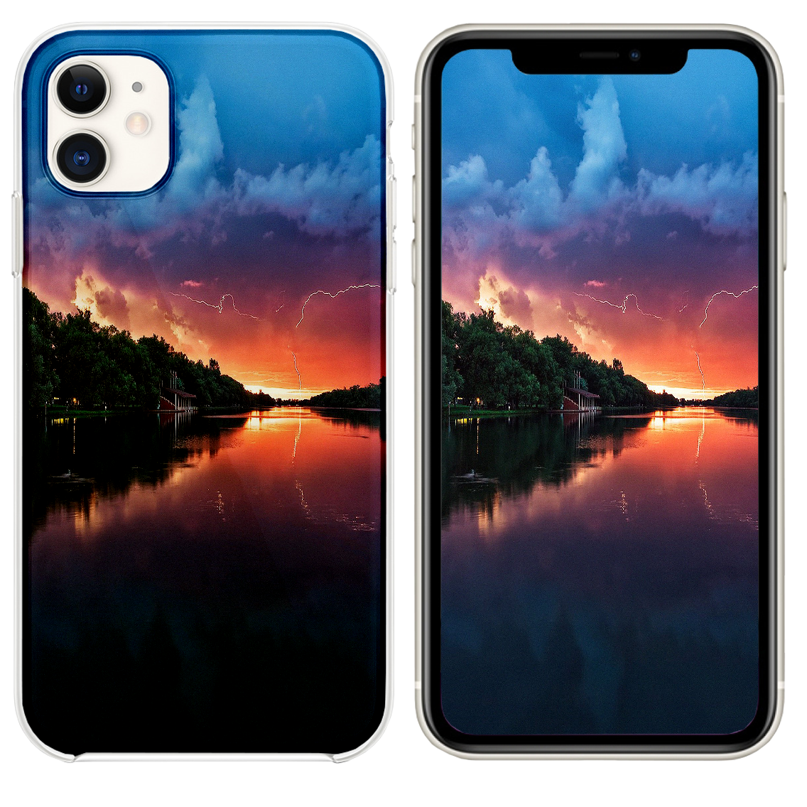 Lightening Reflected Lake Iphone 11 Case And Wallpaper Reflecting Lake Iphone Iphone 11