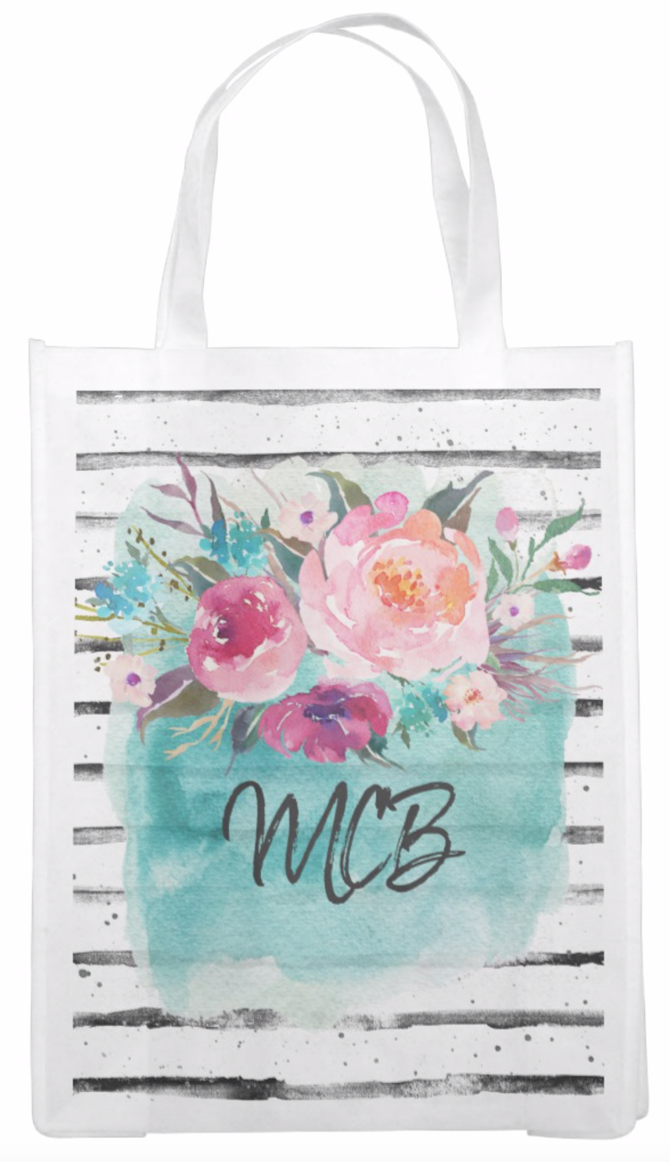 Floral Turquoise Pink Watercolor Bouquet Reusable Grocery Bag
