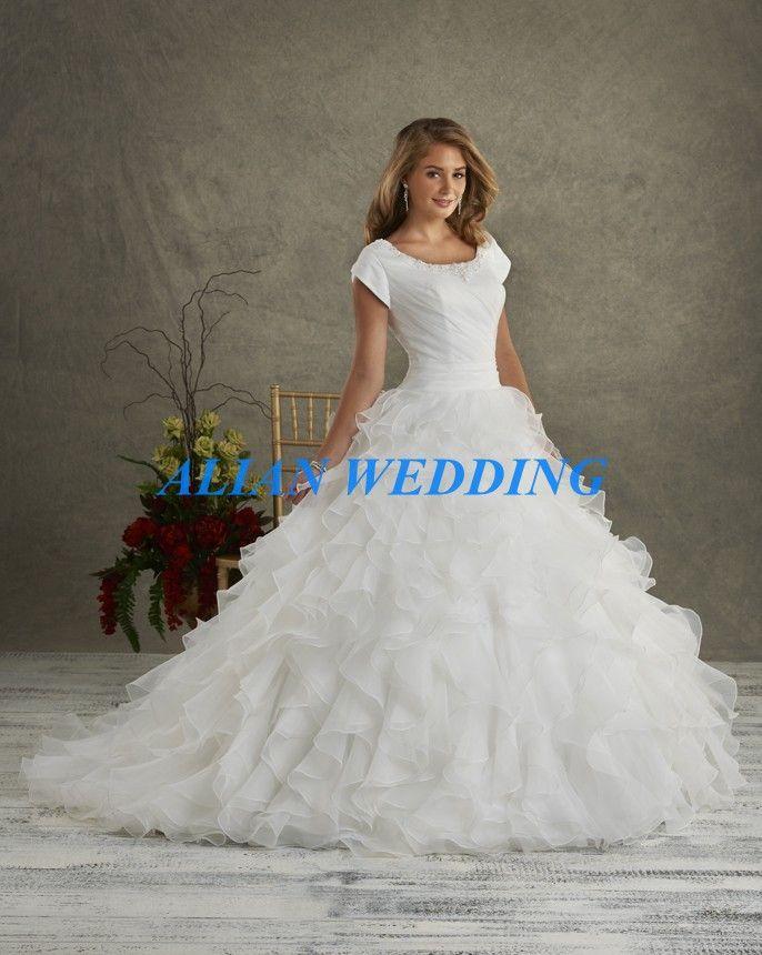 Click to Buy << Organza Wedding Gown High Neck Ball Gown Vestidos De ...