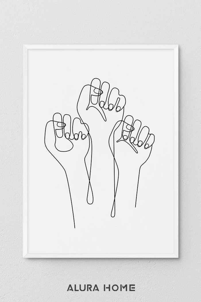 Girls Support Girls Minimalist Framed Feminist Quote Minimalist Print